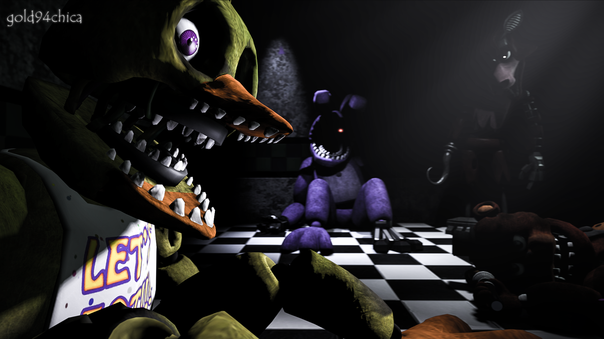 Waiting for our turn.... (SFM FNAF2 Wallpaper) by gold94chica
