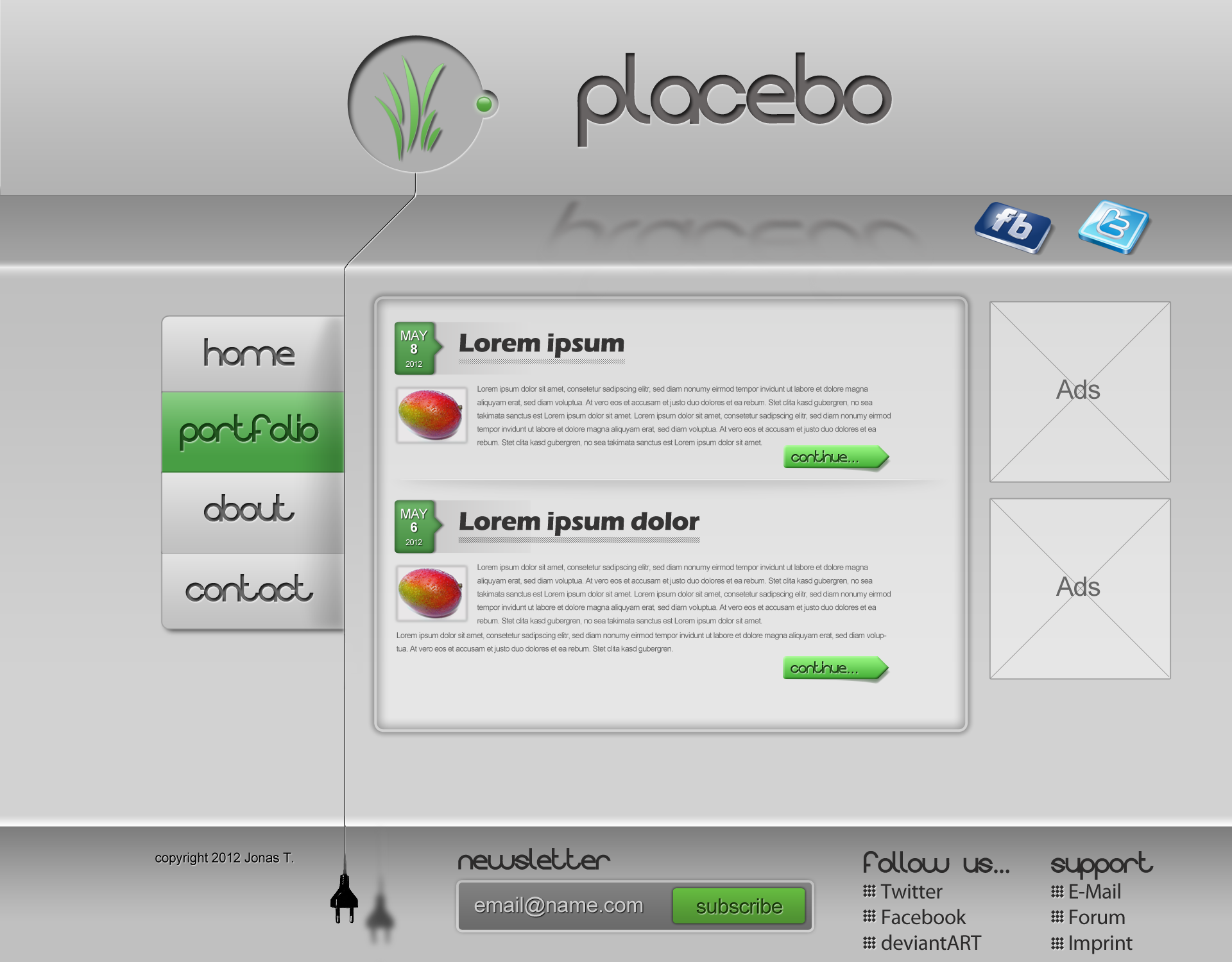 Placebo Homepage Template By Chiefwrigley On Deviantart