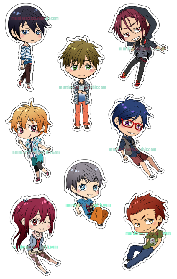 Free! Iwatobi Swim Club Stickers/Magnets by Musapan