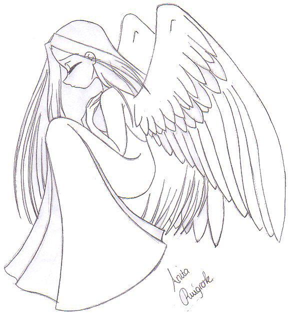 Line Drawing Angel : Sad angel line art by dutch flower on deviantart