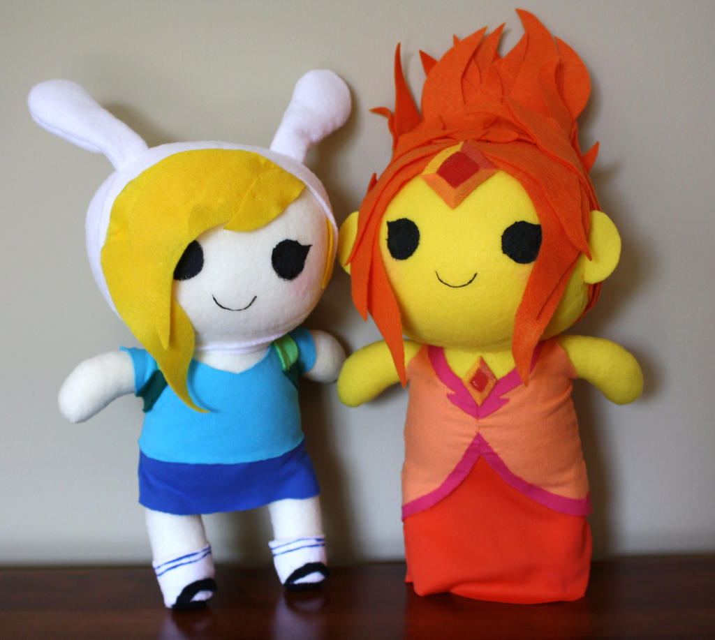 Flame Princess and Fionna Chibi Plushes by orangecorgi