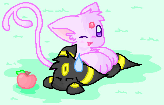 Chibi Espeon and Umbreon by EspyfluffEspeon And Umbreon Chibi