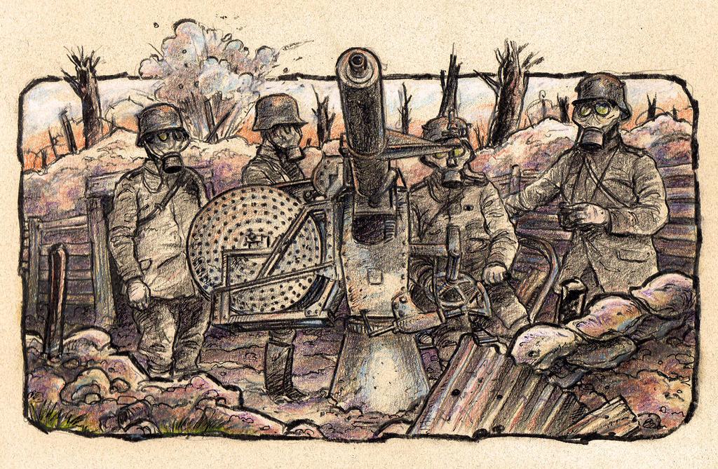 WW1 Gas Mask Gun Crew By Neal Garvin