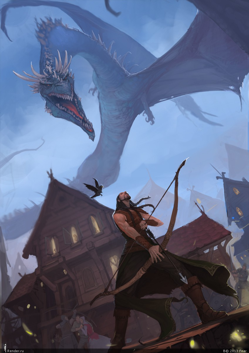 Bard the Bowman and last flight of the old Smaug by ancientfear