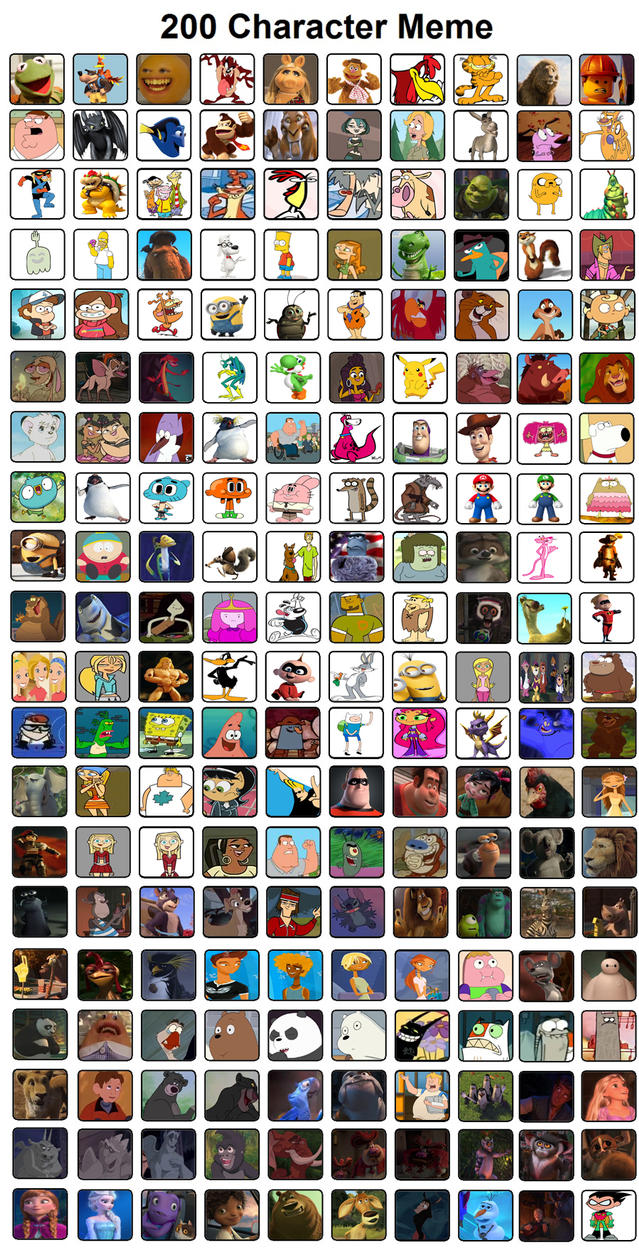 Cartoon Characters 2 100 Pics : Character meme by rdj on deviantart