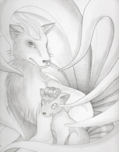 oOo~La gallerie de Mudkip le magnifique~oOo Ninetales_and_her_child_by_fairy_touch-d2lllor