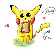 Pikachu + Toast is luv +color+ by Katsu14