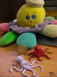 Octopus and squid made of clay