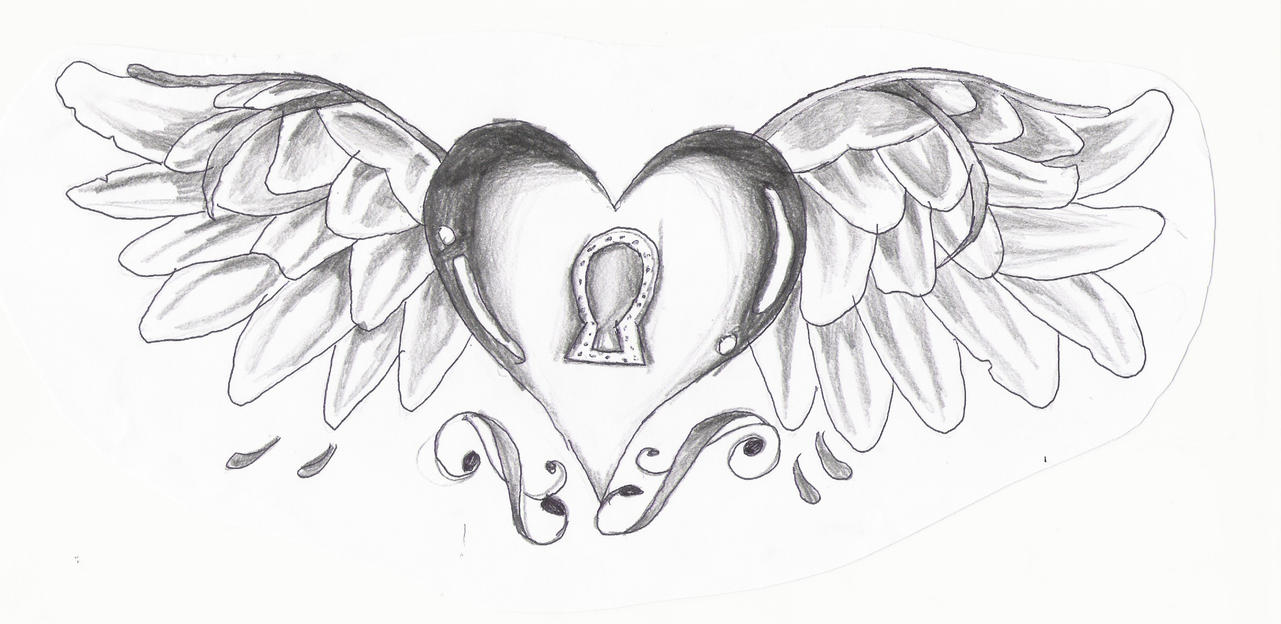 Emo Hearts With Wings Drawings Coloring Coloring Pages