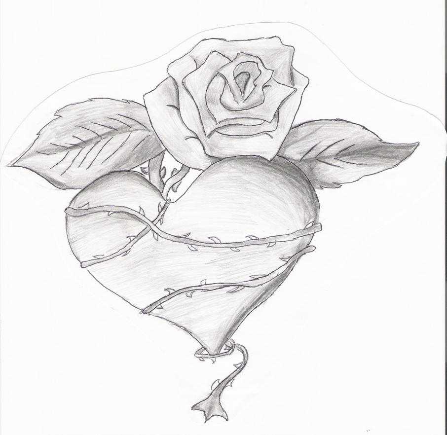 Heart With Banner And Roses