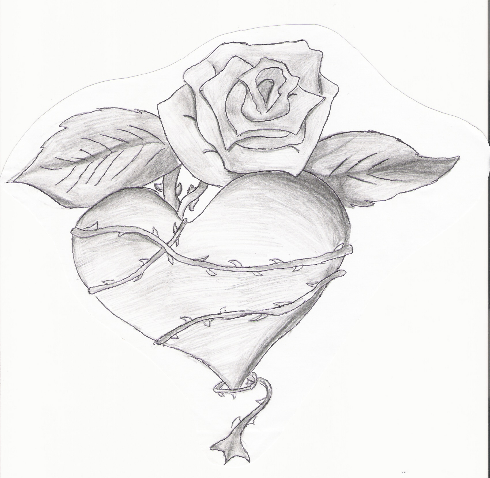 How To Draw A Heart With A Rose Through It