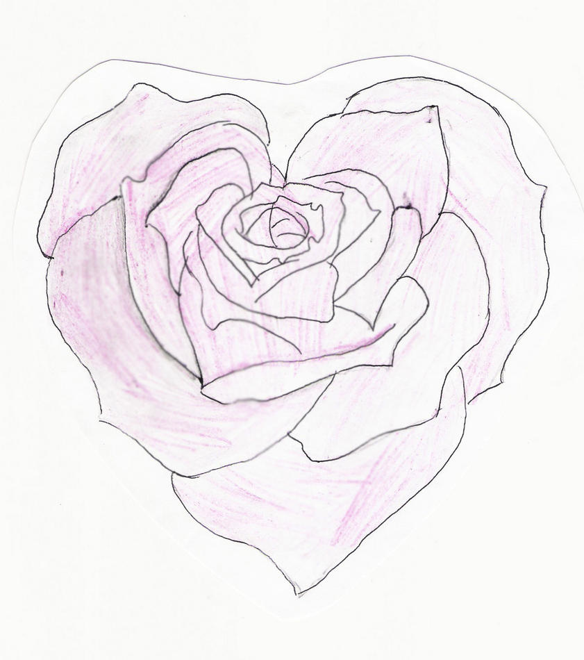 heart drawings with roses