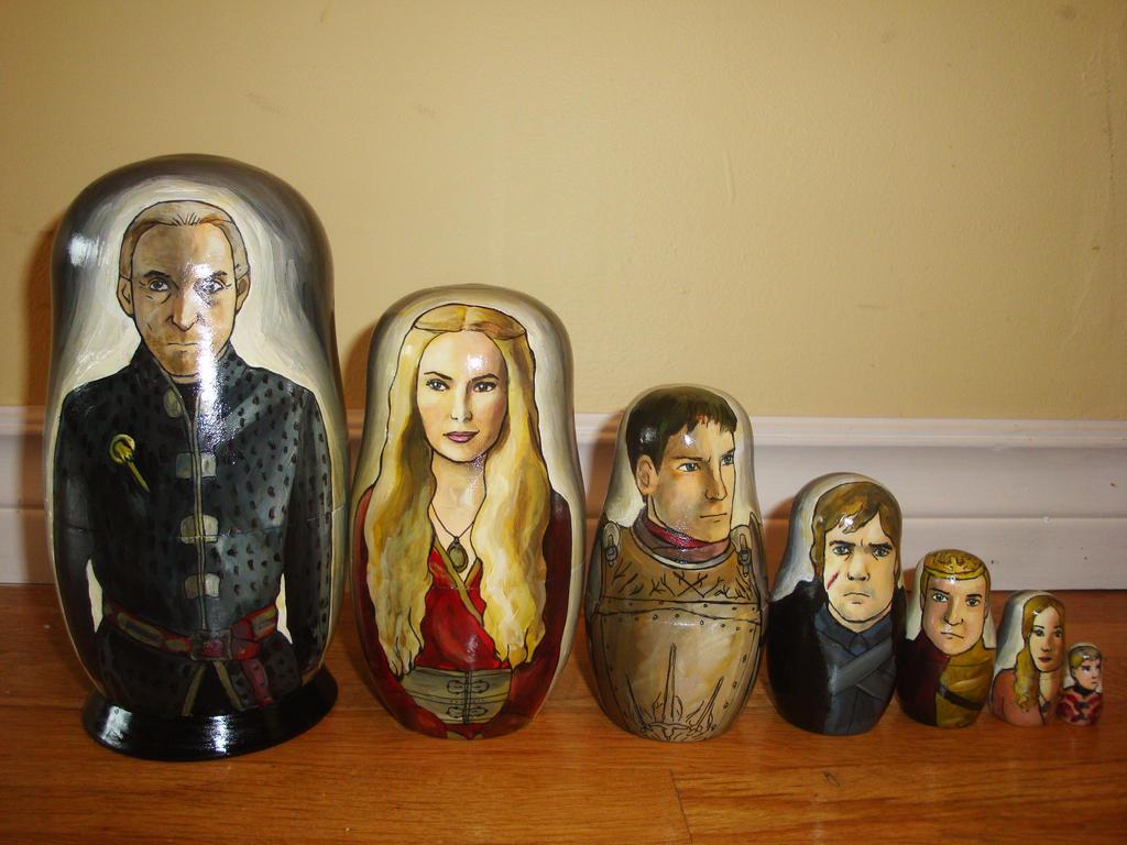 New Set of Seven Lannister Nesting Dolls by bachel60
