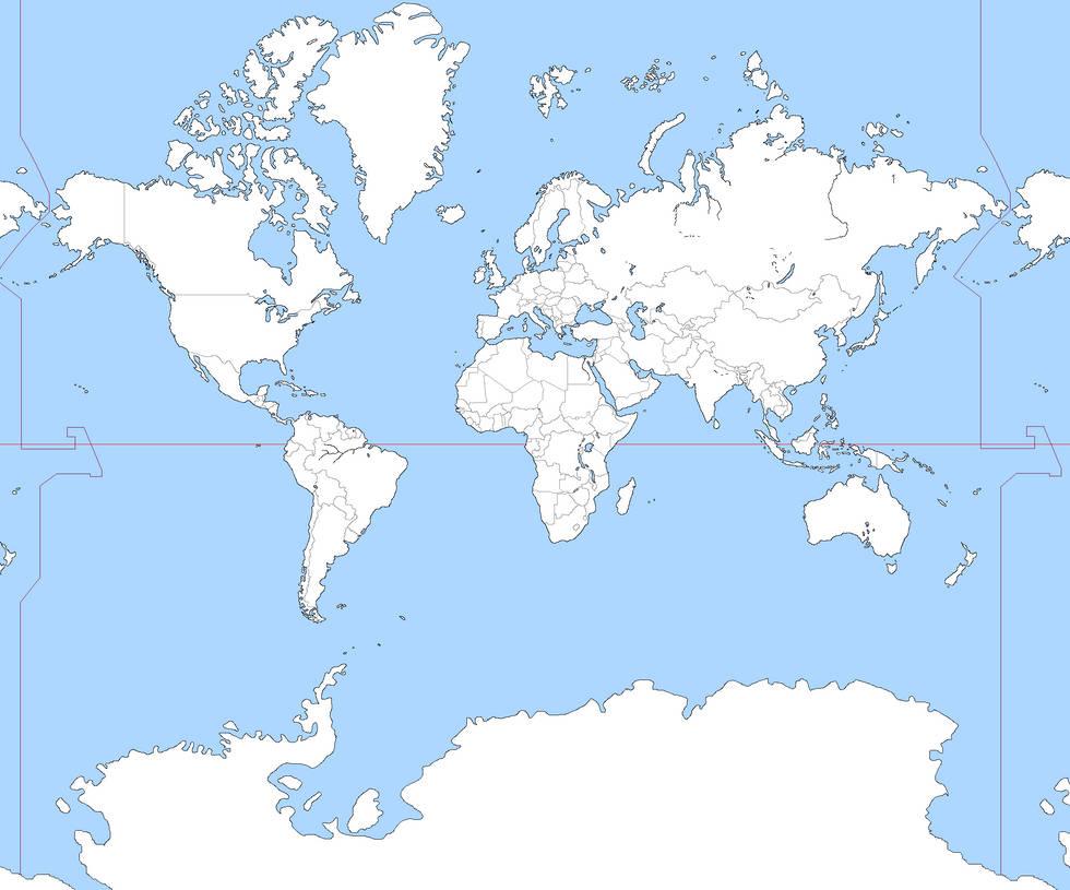 Mercator Blank World Map By Gsnj On Deviantart