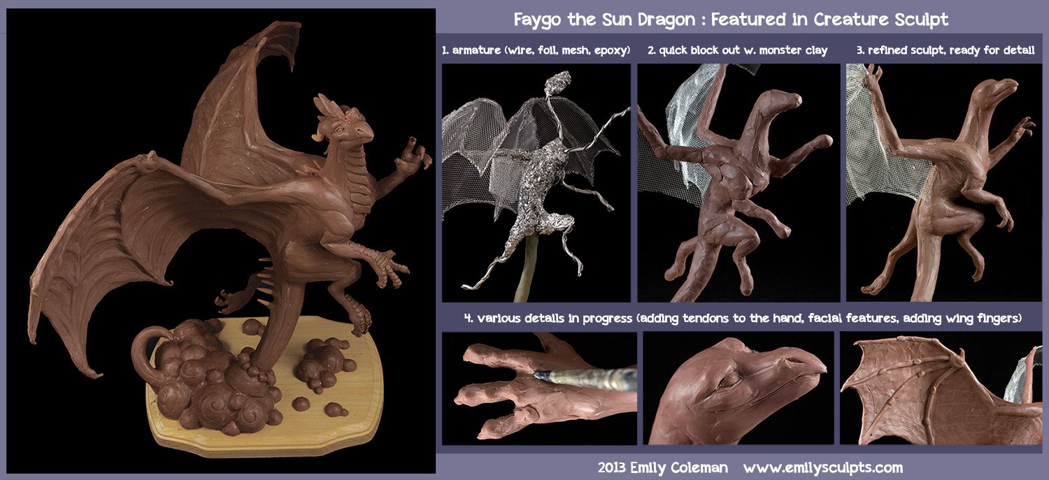 Faygo the Sun Dragon : Featured in Creature Sculpt by emilySculpts