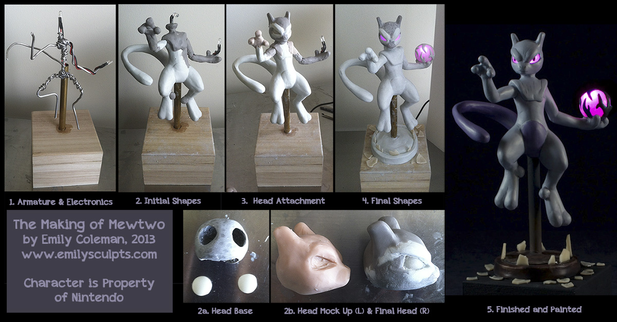 The Making of Mewtwo by emilySculpts