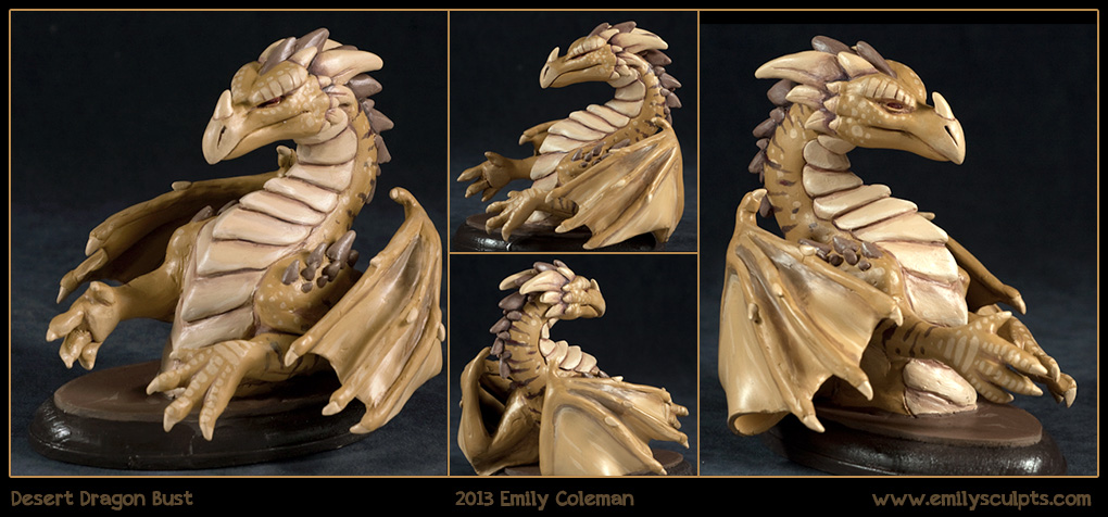 Commission : Desert Dragon Bust by emilySculpts