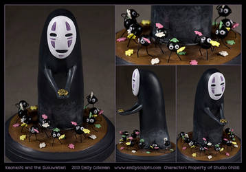 Commission : Kaonashi (No-Face) + the Soot Sprites by emilySculpts