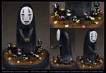 Commission : Kaonashi (No-Face) + the Soot Sprites by verdantSculpts