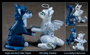 Commission : Angel and Devil Cake Topper