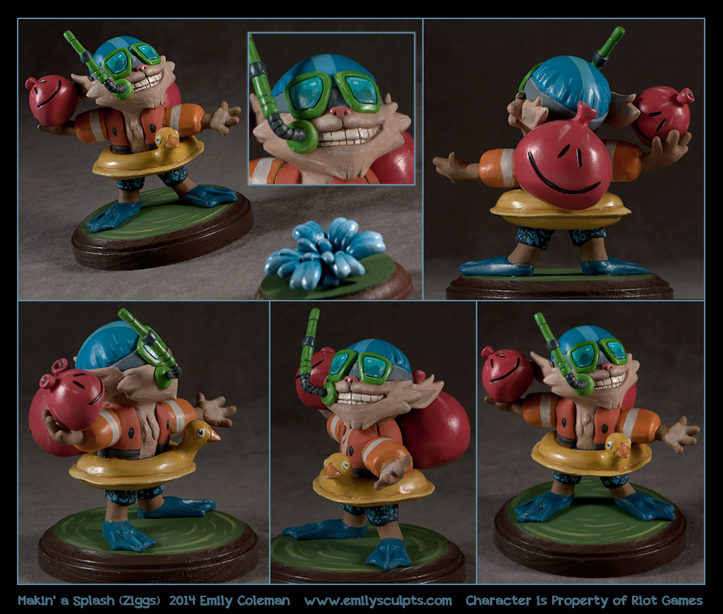 Commission : Pool Party Ziggs, League of Legends by emilySculpts