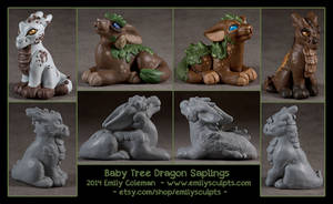 Baby Tree Dragon Saplings by emilySculpts