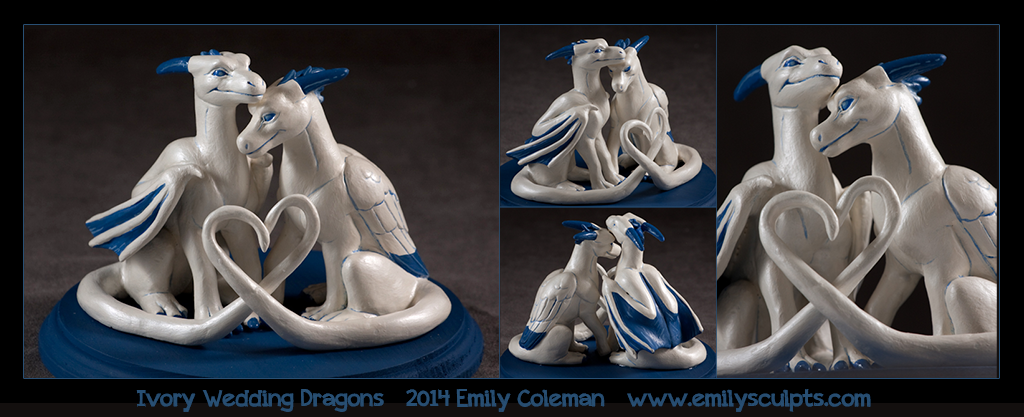 Commission : Ivory Wedding Dragons by emilySculpts
