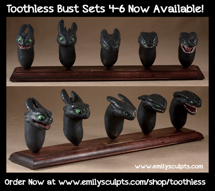 More Toothless Bust Sets Available NOW! by emilySculpts