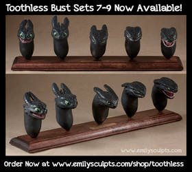 Three More Toothless Bust Sets Available NOW! by emilySculpts