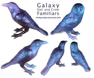 Galaxy Owl and Crow Familiars by emilySculpts