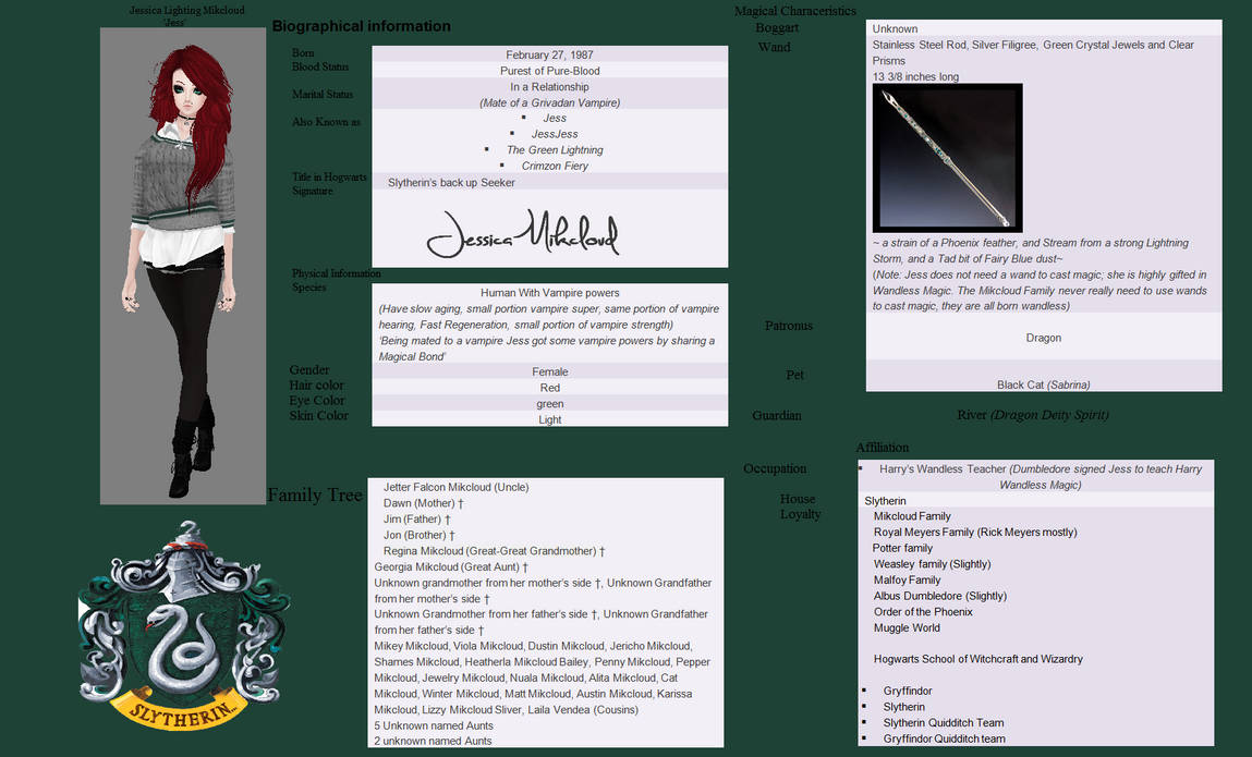 Jessica Mikcloud (Harry Potter Character Sheet) by