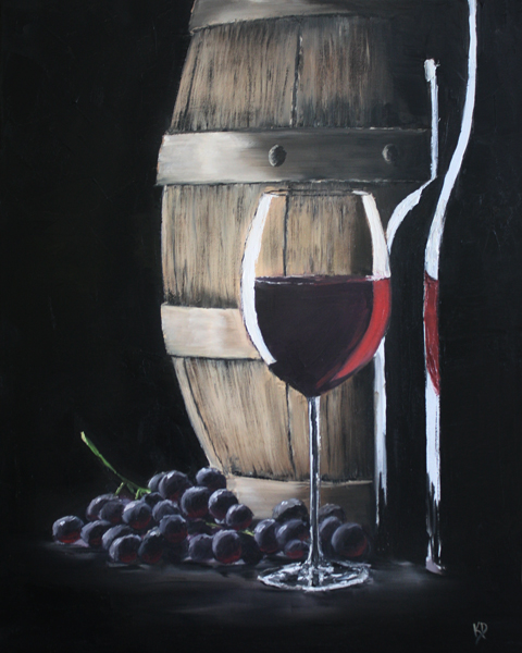 Red Wine and Grapes by justanothercreator