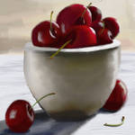 Cherries in a bowl by justanothercreator