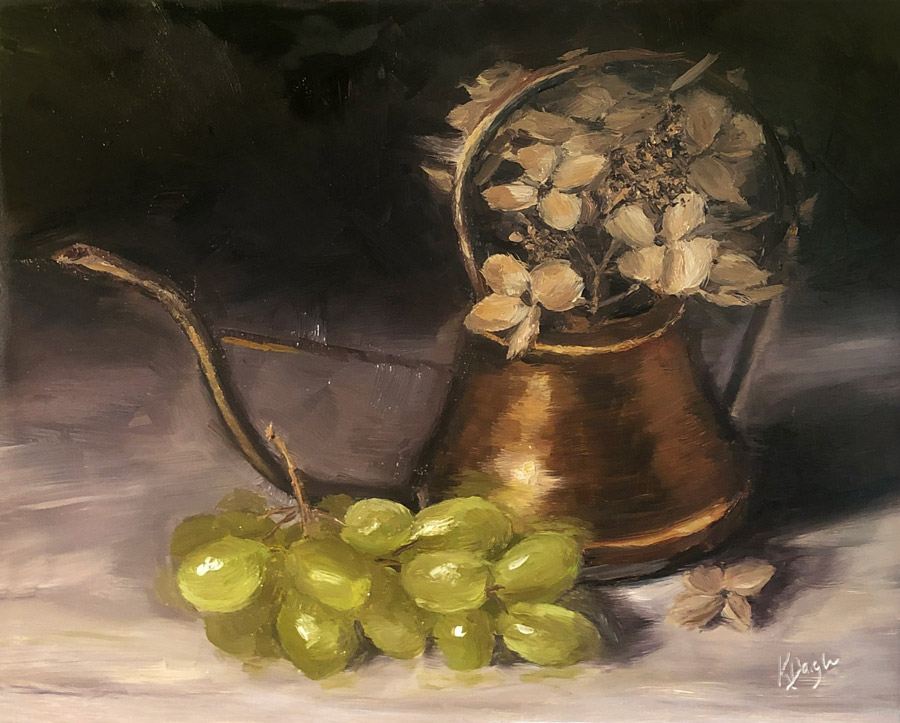 Watering Can and Grapes by justanothercreator
