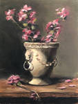 Blooms in a stone vase