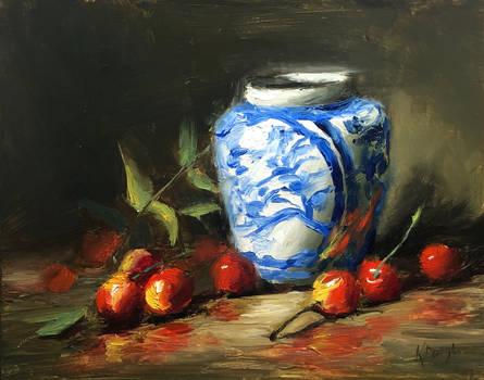 Rainier Cherries and Vase