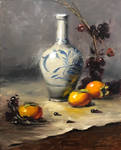 Vase and persimmons