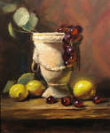 Stone Vase with grapes and lemons