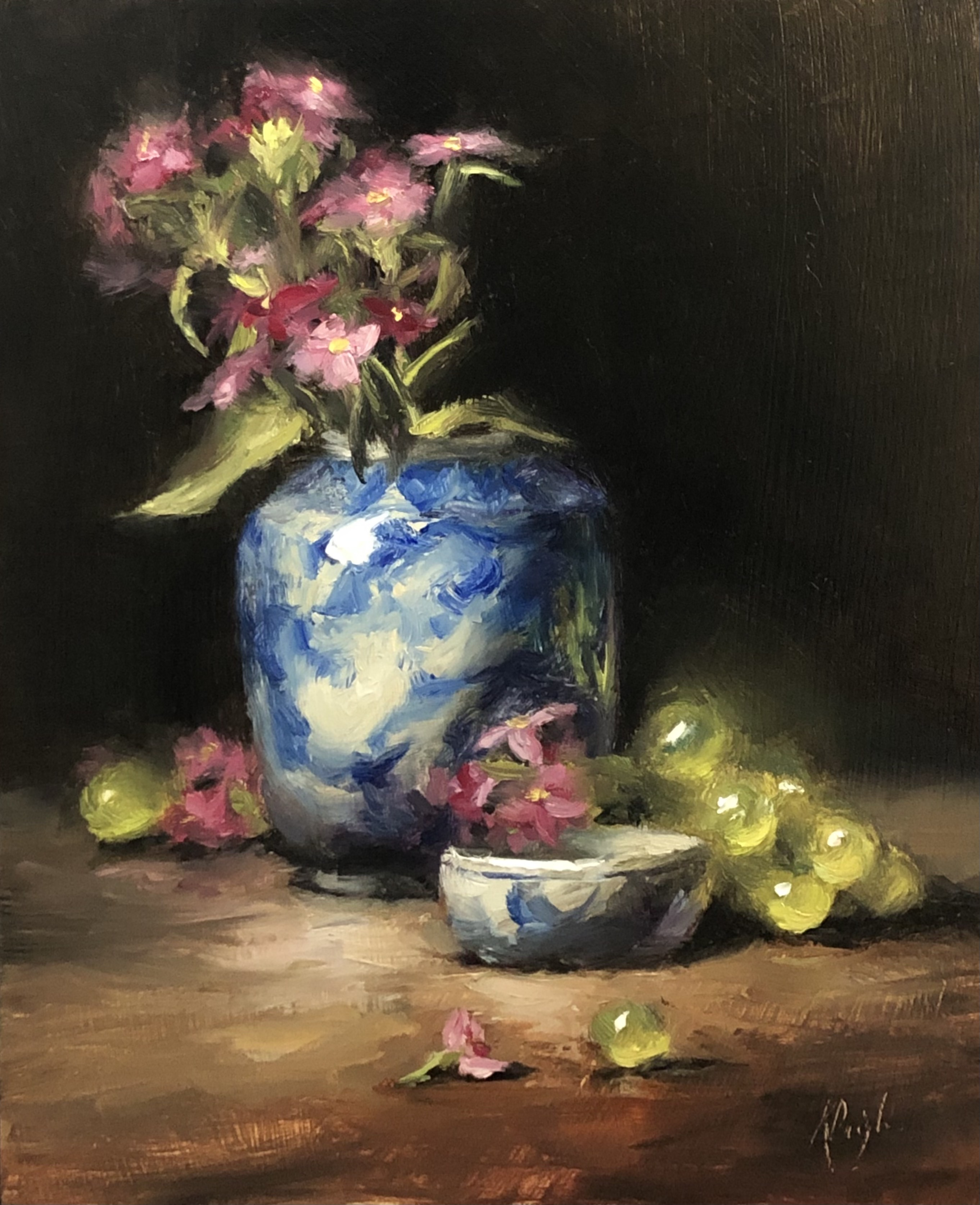 Spring flowers and Green Grapes
