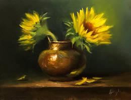 Sunflower in brass