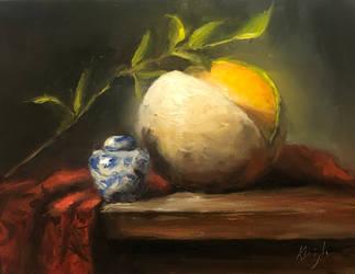 Cantaloupe with jar