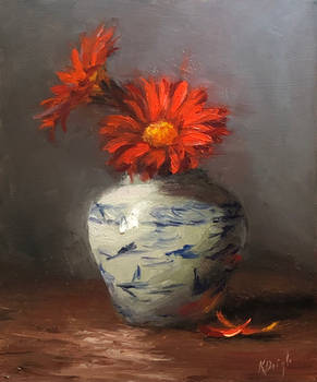 Gerber Daisies and old vase