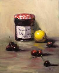 Cherry jam and lemon
