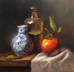 Vase with Apple and old Bottle