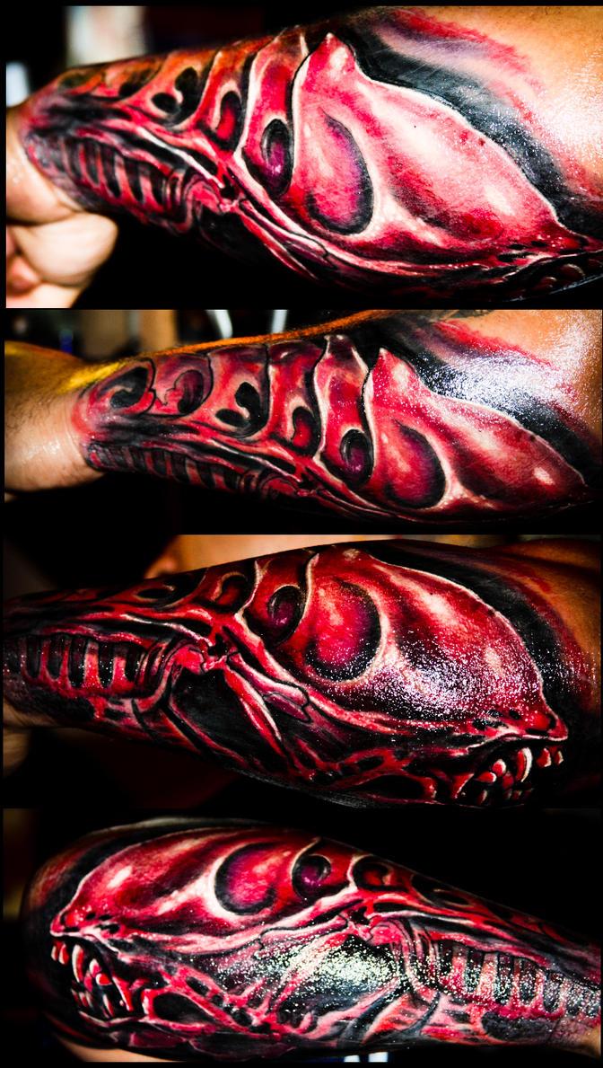 Hr giger tattoo designs - H R Giger Alien Tattoo By Ravenousdevour
