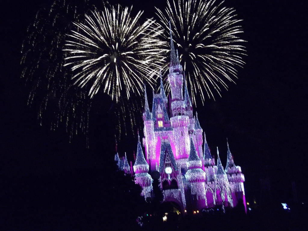 disney world fireworks lit castle by lupineleigh on deviantart