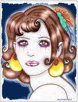 Hazel the Roman Pantomime artist by Jburnstudios