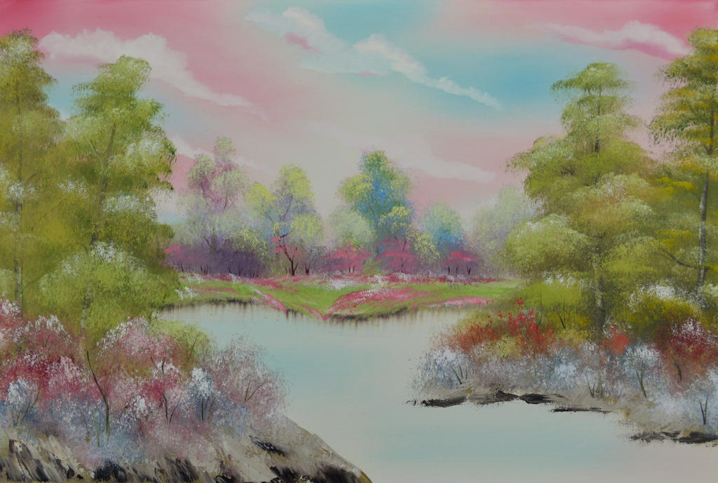 Pink and Green Scene by LianneC