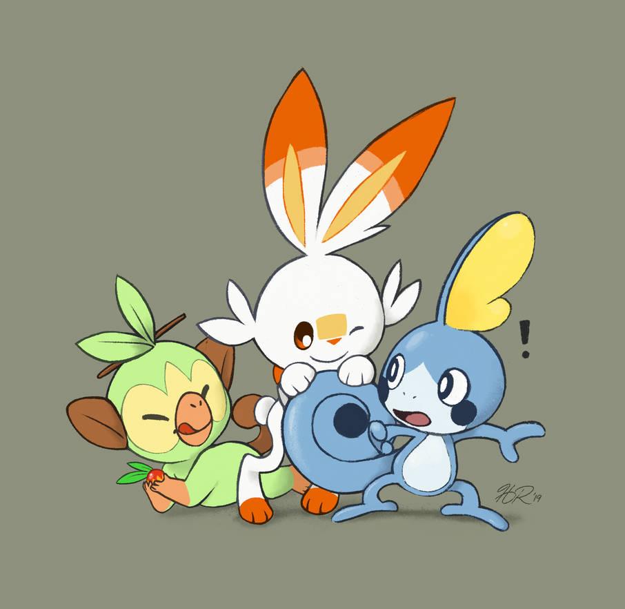 Pokemon Sword and Shield Starters by hevromero