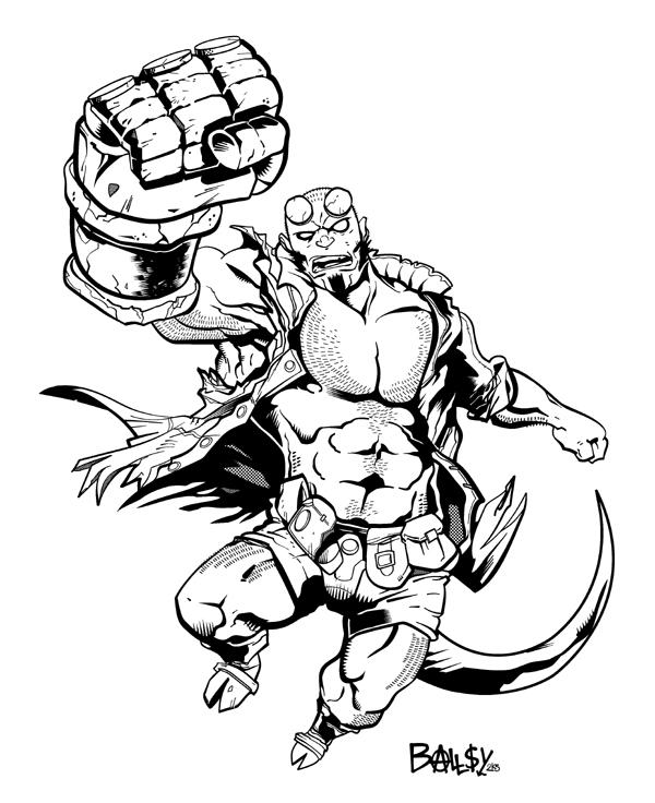 Hellboy Pin-Up by ballsybalsman